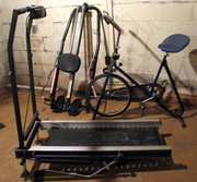 exercise equipment,  stationary bike,  tread mill and rowing machine